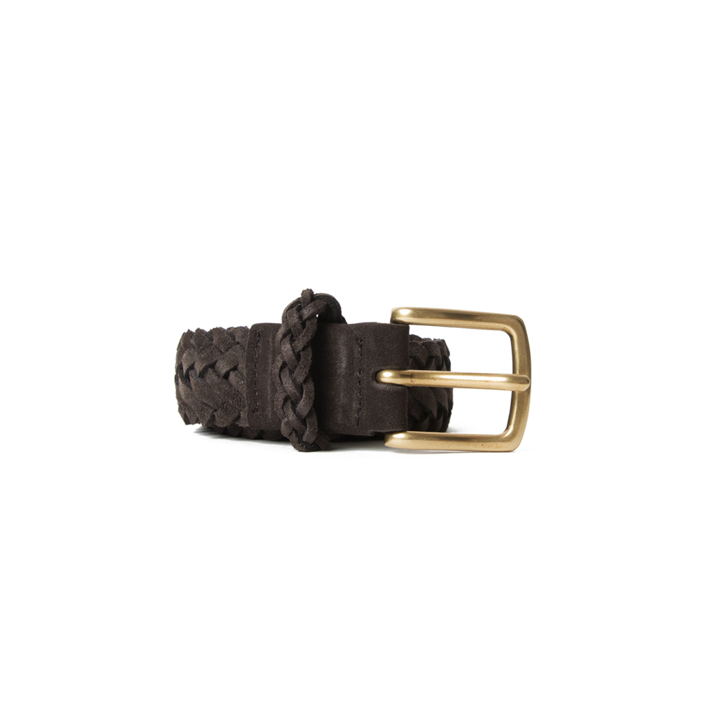 [ESFAI] BRAIDED SUEDE BELT (BROWN)