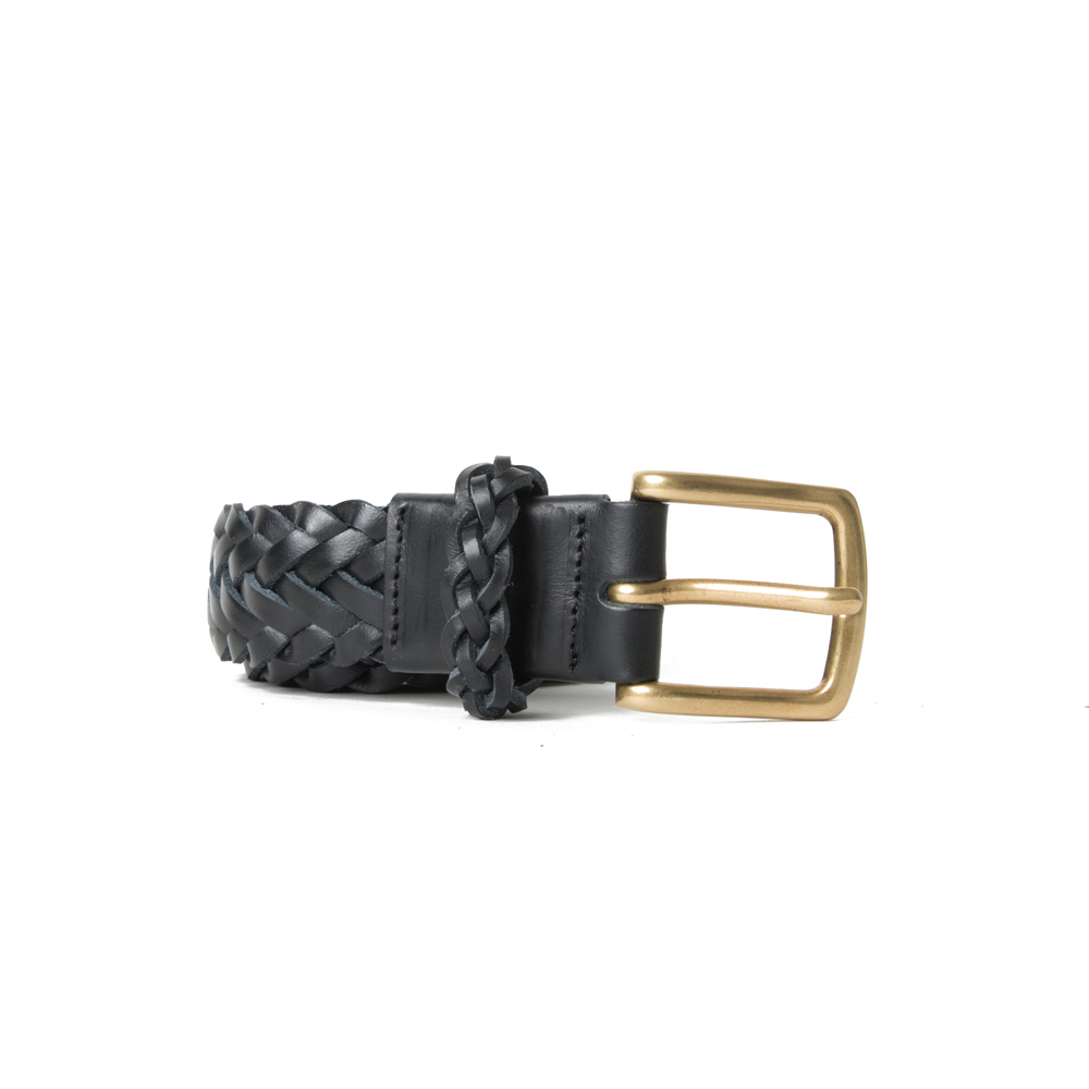 [ESFAI] BRAIDED LEATHER BELT (BLACK)