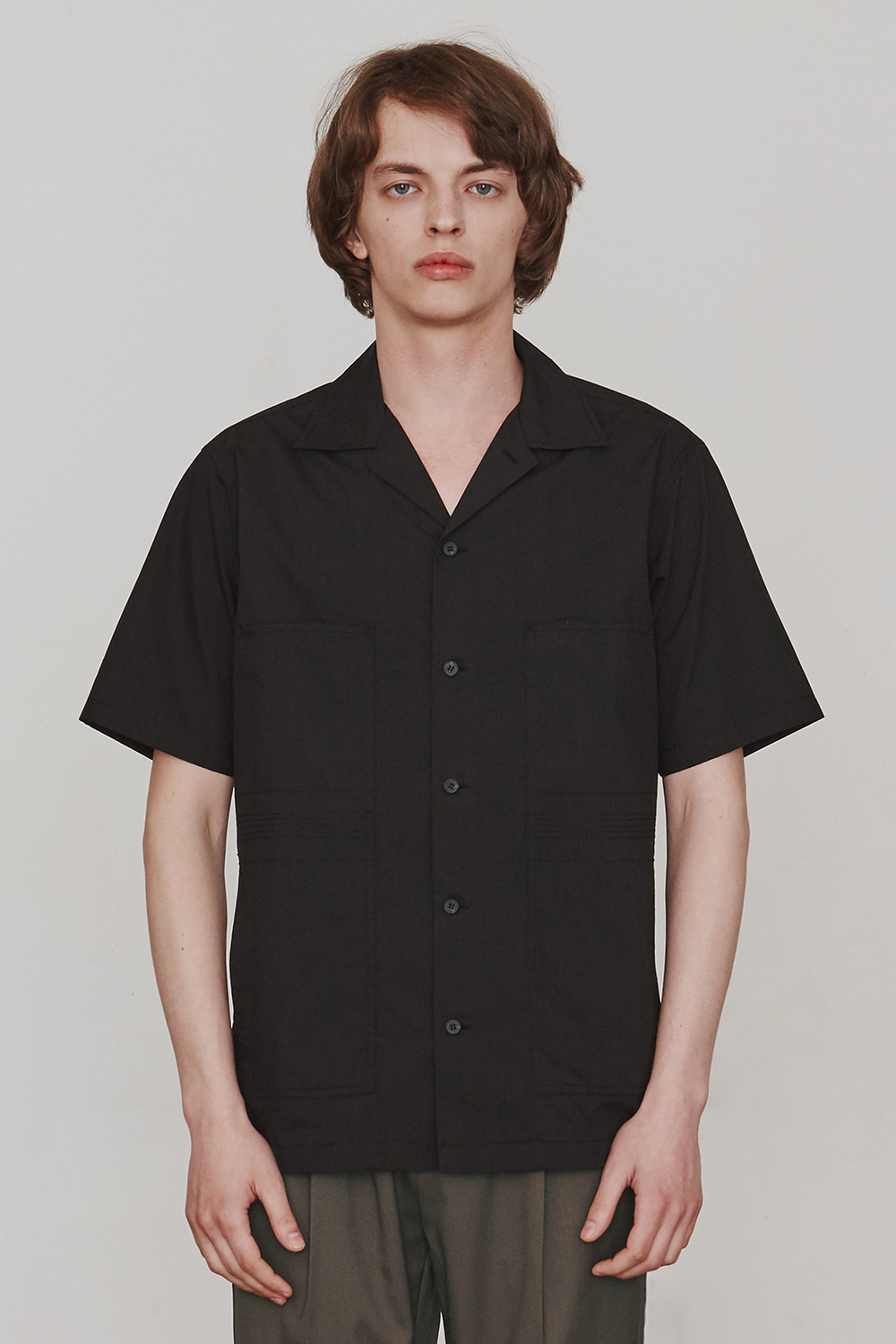 [ESFAI] Finger Stitch Shirts (Black)