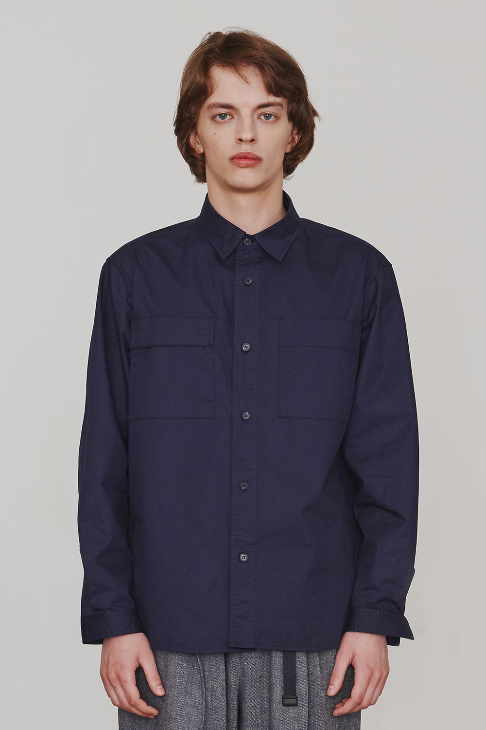[ESFAI] Two-Sided Pocket Shirt (Navy)