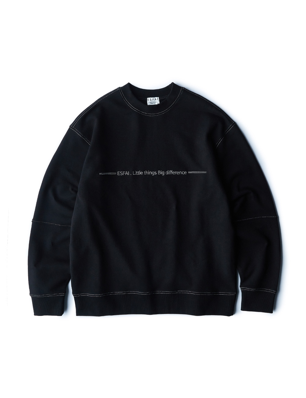 [ESFAI] sf04 color stitch sweat shirt (Black)