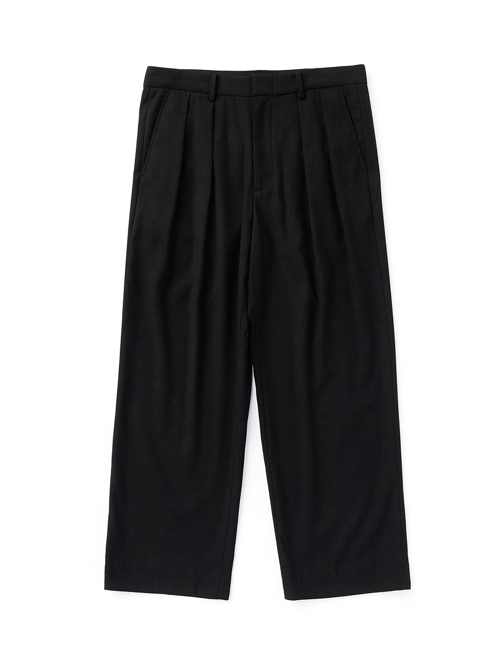 [ESFAI] SO28 2TUCK F WIDE PANTS (BLACK)