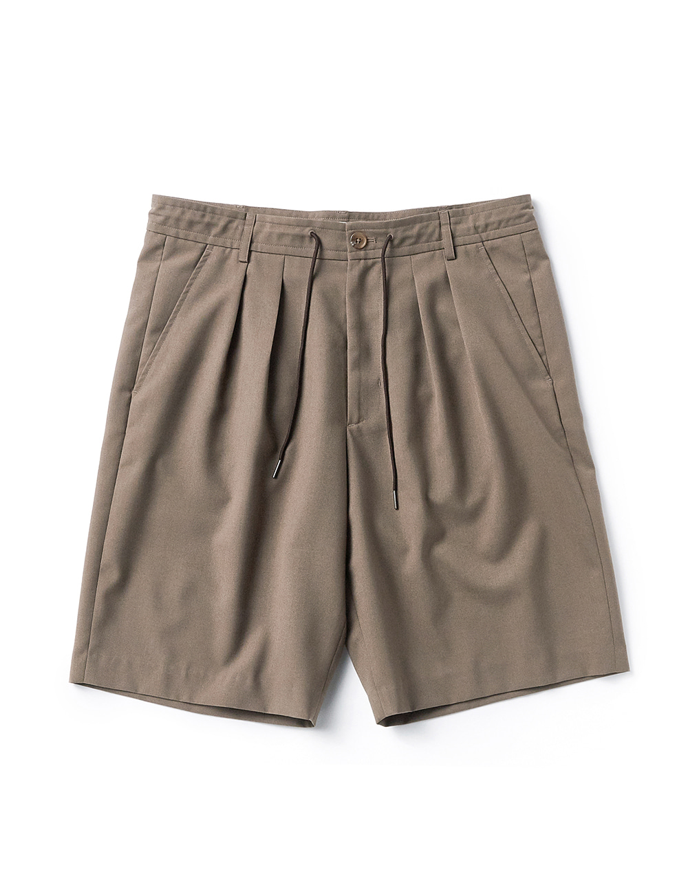 [ESFAI] suc2 tuck wide shorts (Beige)