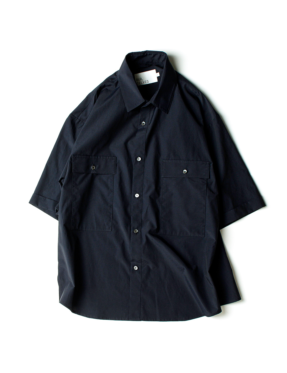 [Ourselves] [S/C#1] 4POCKET WIDE HALF SHIRTS (Deep Navy)