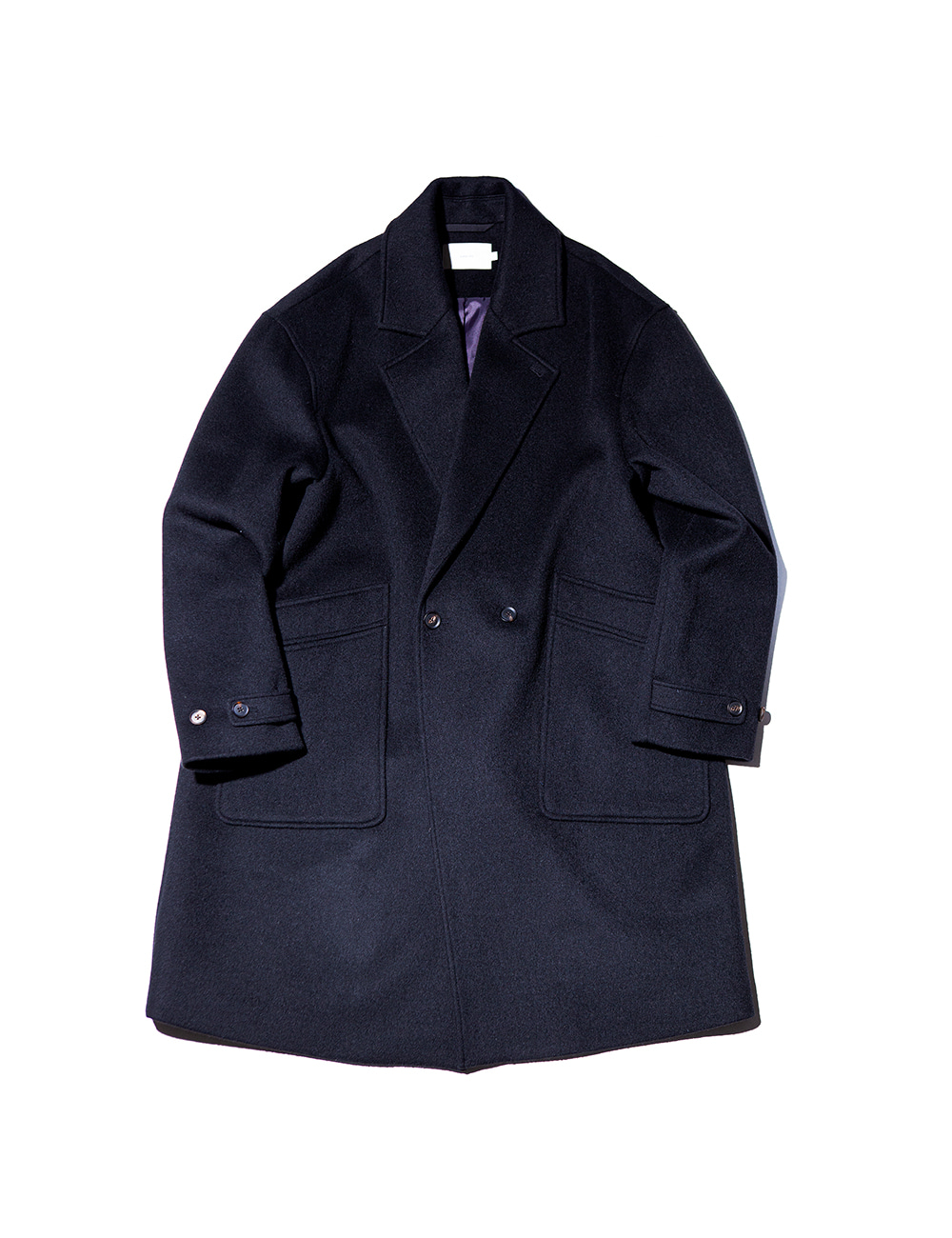 [Ourselves] SOFT WOOL DOUBLE BREASTED COAT (Real black)