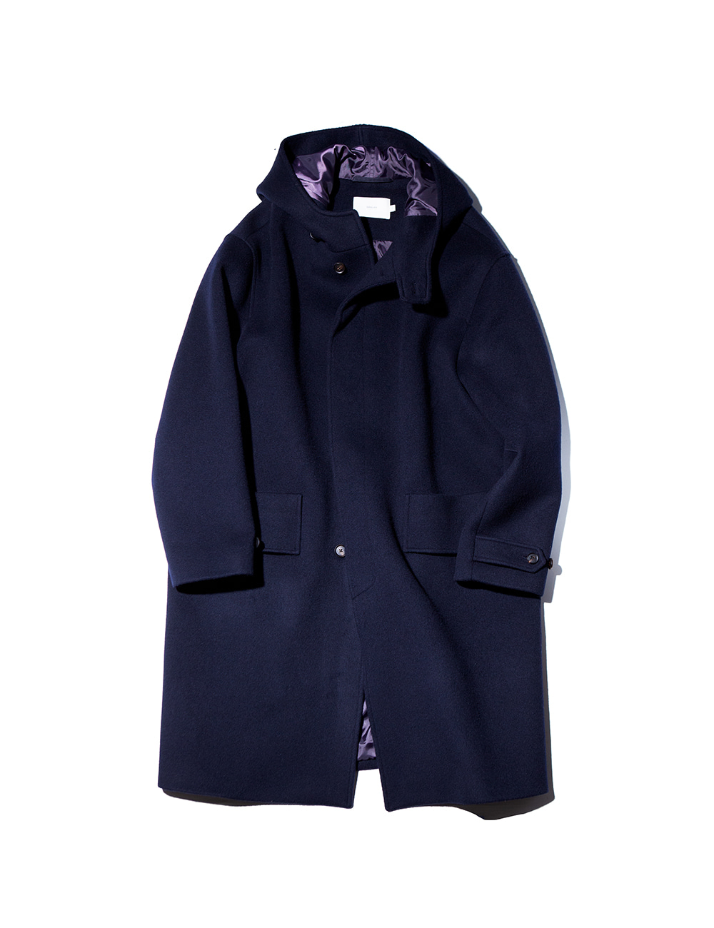 [Ourselves] SOFT WOOL HOODED COAT (Deep navy)