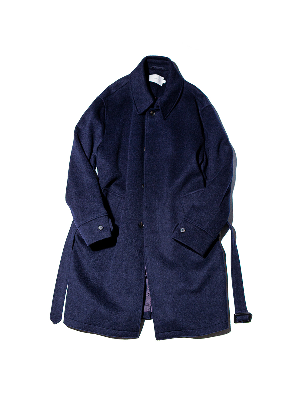 [Ourselves] SOFT WOOL BELTED MAC COAT (Midnight navy)