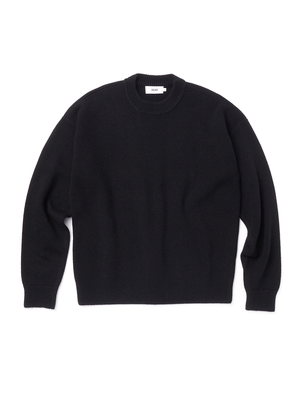 [DGRE] ANGEL WOOL RIB CREW KNIT (BLACK)