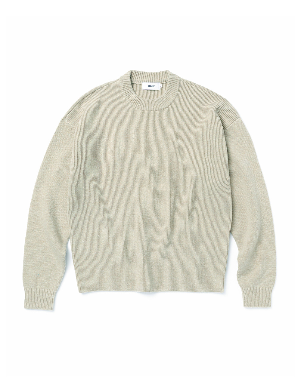 [DGRE] ANGEL WOOL RIB CREW KNIT (CEMENT)