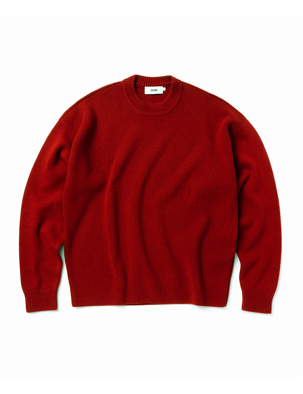 [DGRE] ANGEL WOOL RIB CREW KNIT (RED)